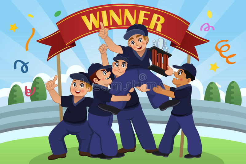 Kids Lifting Up Trophy stock illustration