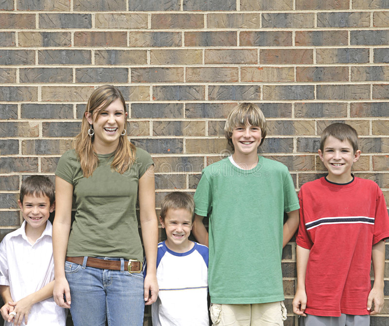 Kids Lined Up Laughing. A Group of Kids Lined Up Laughing stock image