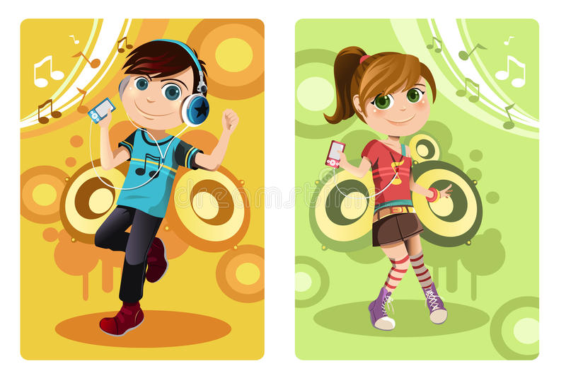 Download Kids listening to music stock vector. Illustration of dancing - 23254336