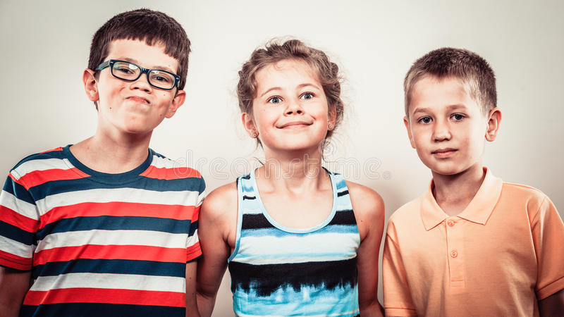 Download Kids Little Girl And Boys Making Silly Face Expression. Stock Image - Image of stupid, humor: 60410547