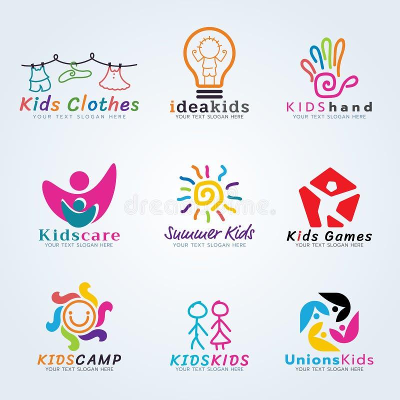 Kids logo vector creative concept art set design vector illustration