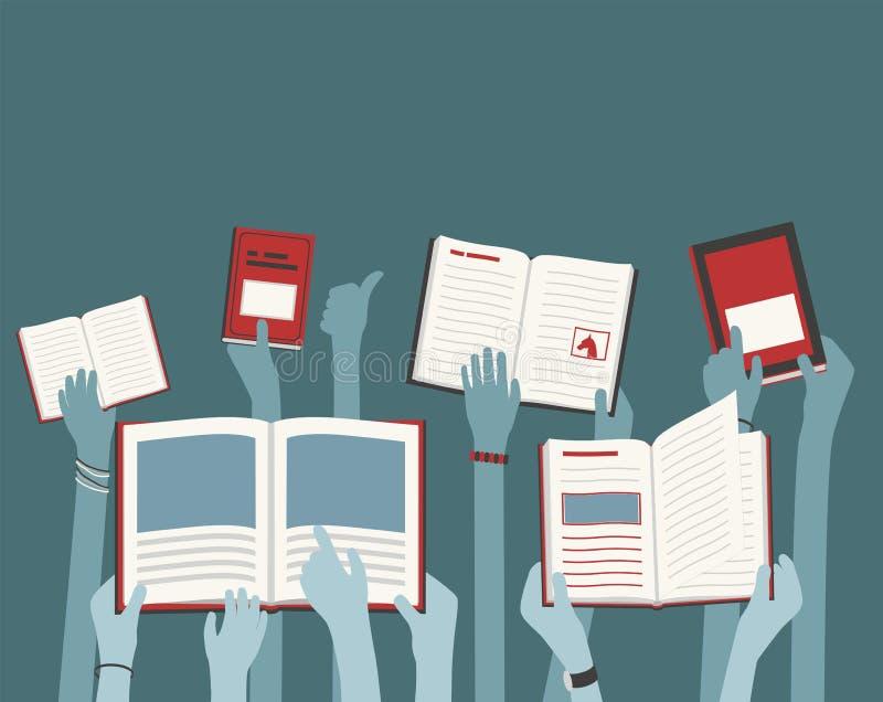 Kids Long Hands Holding and Reading Library Livres concept abstrait bleu et rouge idéal pour les dépliants illustration stock
