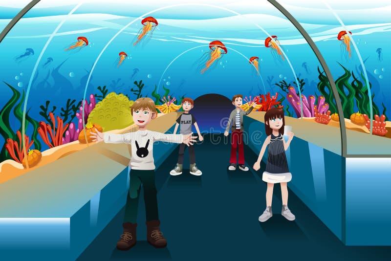 Kids looking at jellyfish vector illustration