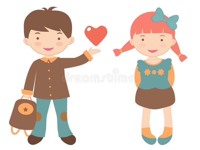 Kids in love stock illustration