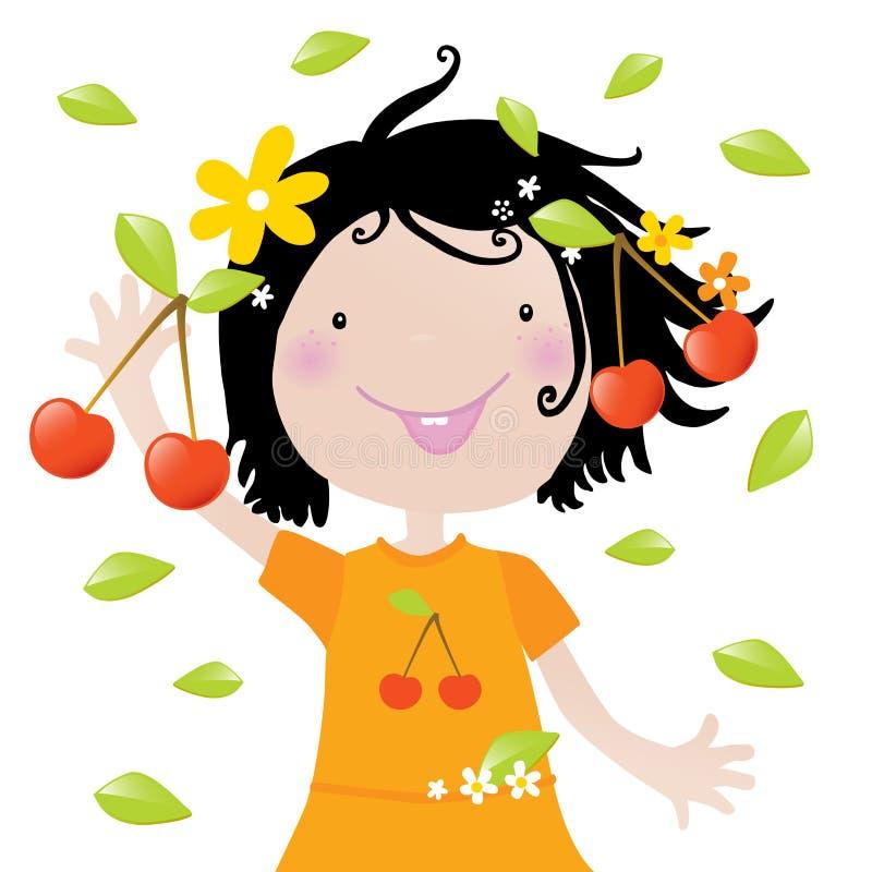 Kids love it- cherries stock illustration