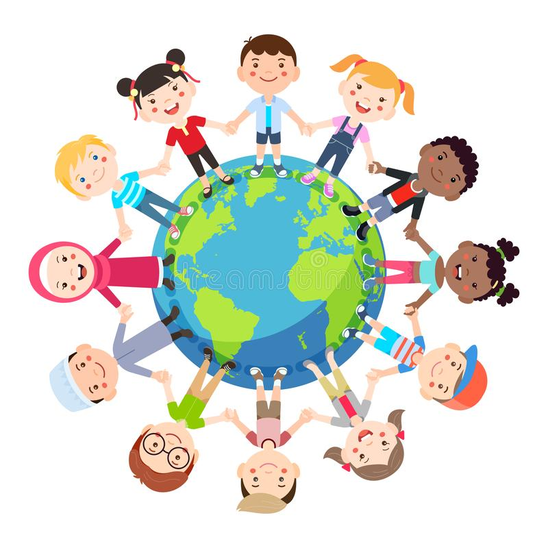 Kids love globe conceptual. Groups of children from all around the world join hands around the globe. Vector illustration royalty free illustration