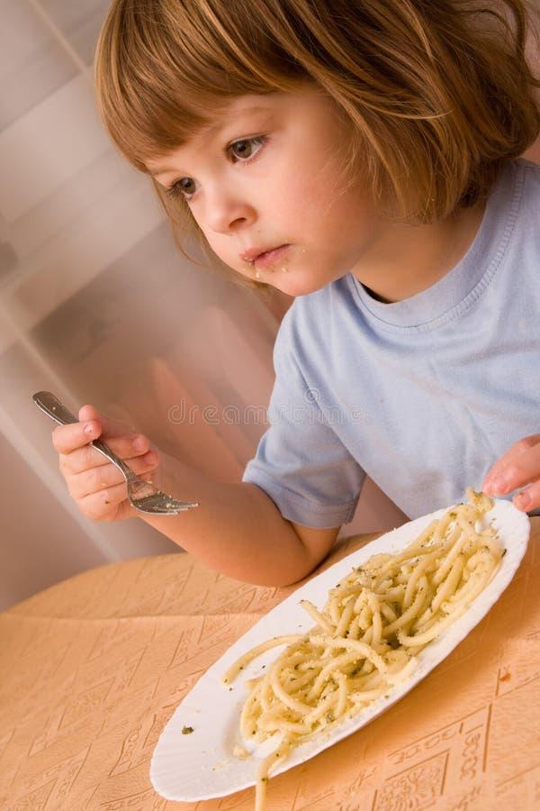 Kids love pasta royalty free stock photo