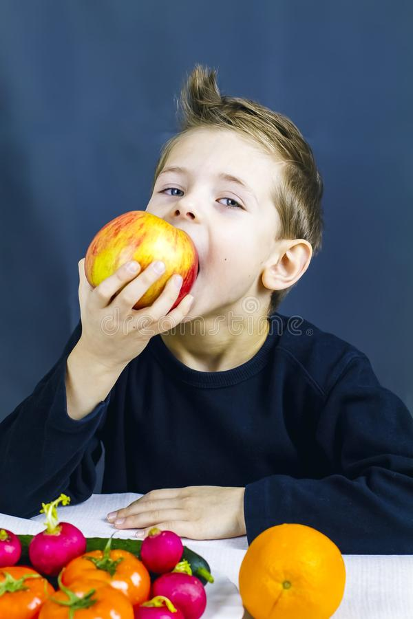 Kids love vegetables and fruits. stock photo