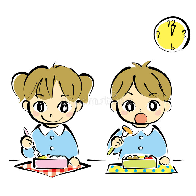 Kids at lunchtime vector illustration