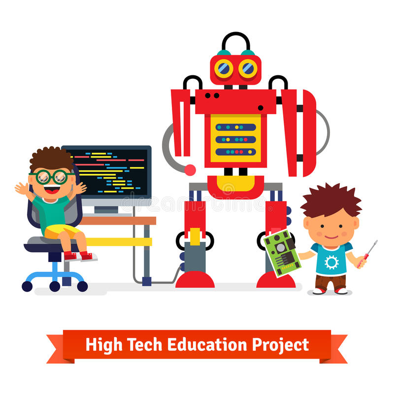 Kids are making and programming huge robot. Robotics hardware and software engineering. Flat style vector illustration on white background vector illustration