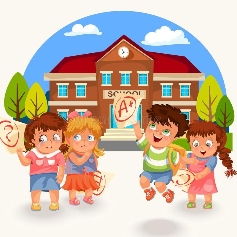 Kids and marks poster vector illustration