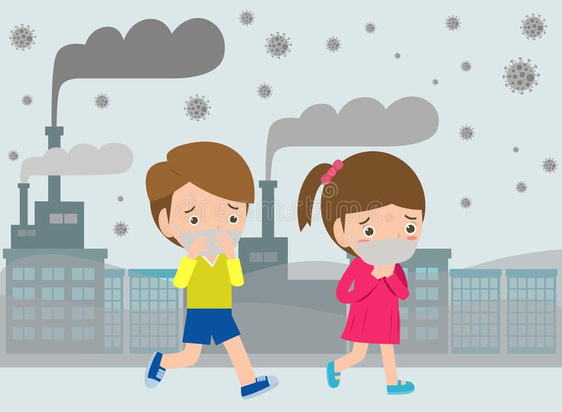 Kids in masks because of fine dust, boy and girl wearing mask against smog. Fine dust, air pollution, industrial smog protection c royalty free illustration