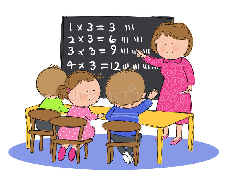 Kids in Math Class. Hand drawn picture of children in classroom at school learning math, illustrated in a loose style. Vector eps available