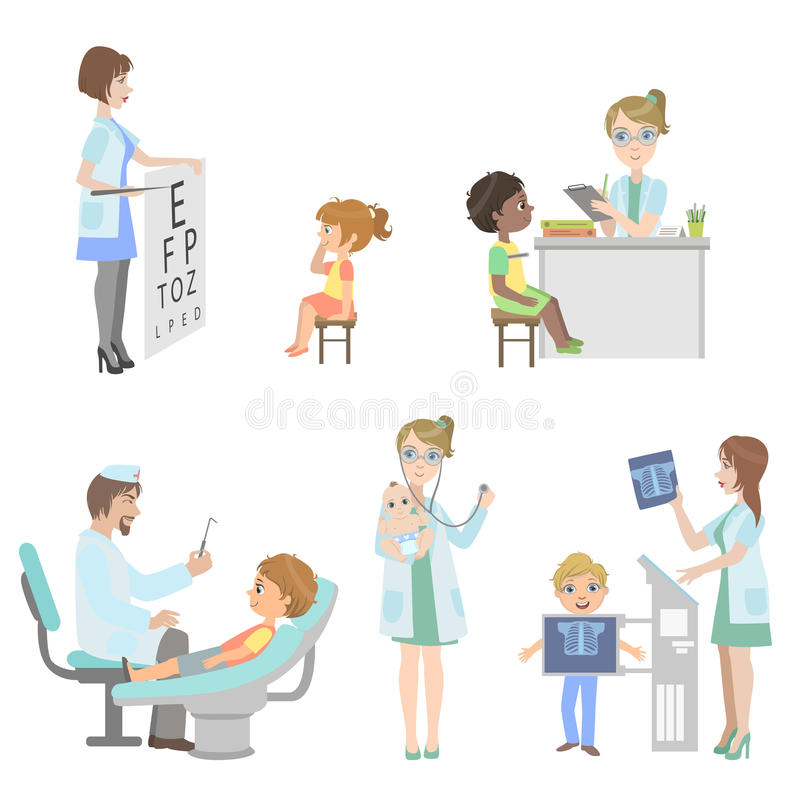 Kids On Medical Checkup Set. Of Simple Design Illustrations In Cute Fun Cartoon Style On White Background royalty free illustration