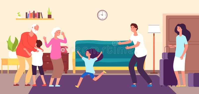 Kids meet grandparents. Grandson granddaughter hug grandma grandpa. Grandchildren grandfather grandmother happy family vector illustration