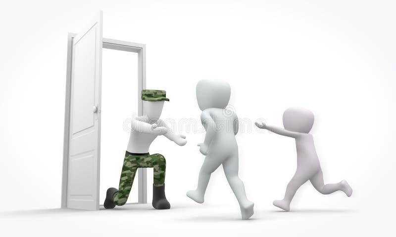 Download Kids Meet Soldier Dad Arriving Home Stock Illustration - Image: 22157018