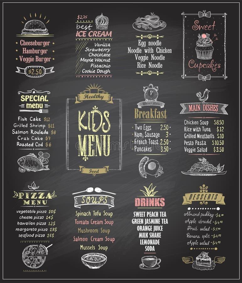 Kids menu chalkboard designs set. royalty free illustration
