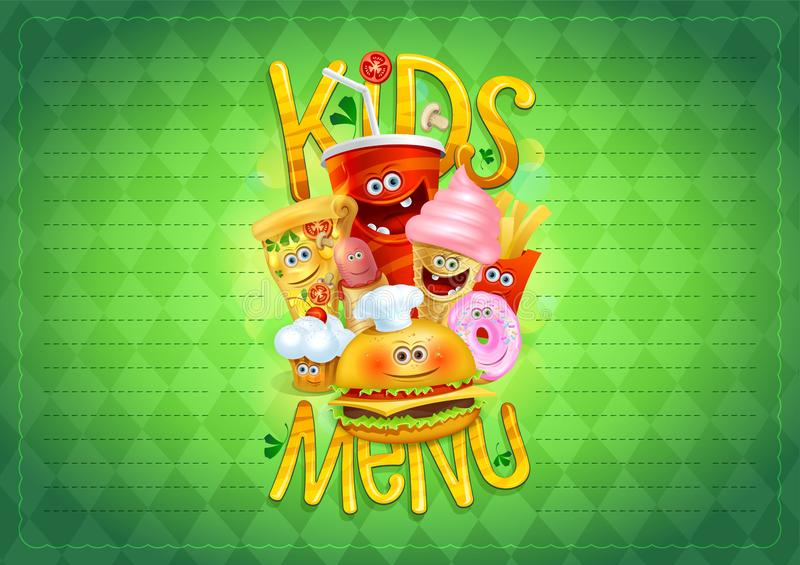 Kids menu list with cartoon hot dog, burger, french fries, pizza, donut, ice cream, muffin and drink royalty free illustration