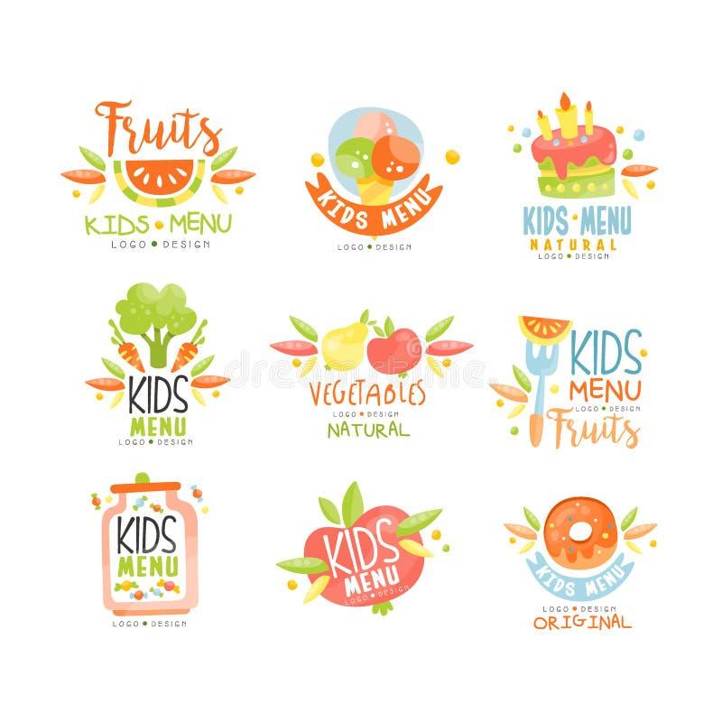 Kids menu, natural food logo original, colorful creative template vector. Illustration stock illustration