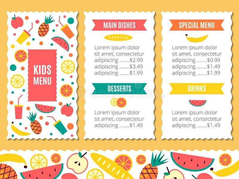 Kids menu template stock illustration. Illustration of beverages ...