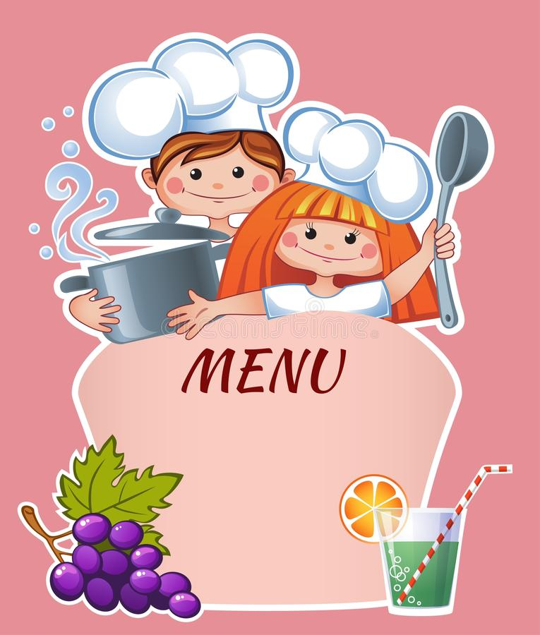 Kids menu template vector illustration