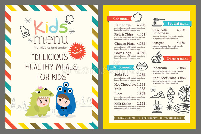 Kids menu vector template. Cute colorful kids meal menu vector template
