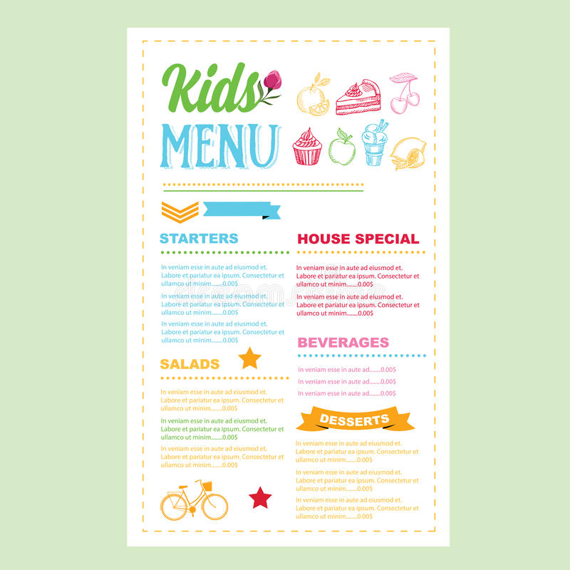 Kids menu. Vector template. royalty free illustration