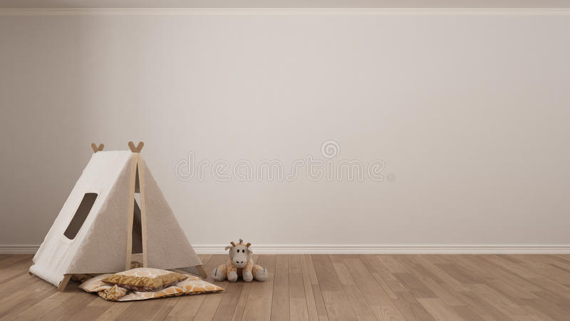 Kids minimalist white background with child tent, blanket pillow royalty free stock photo