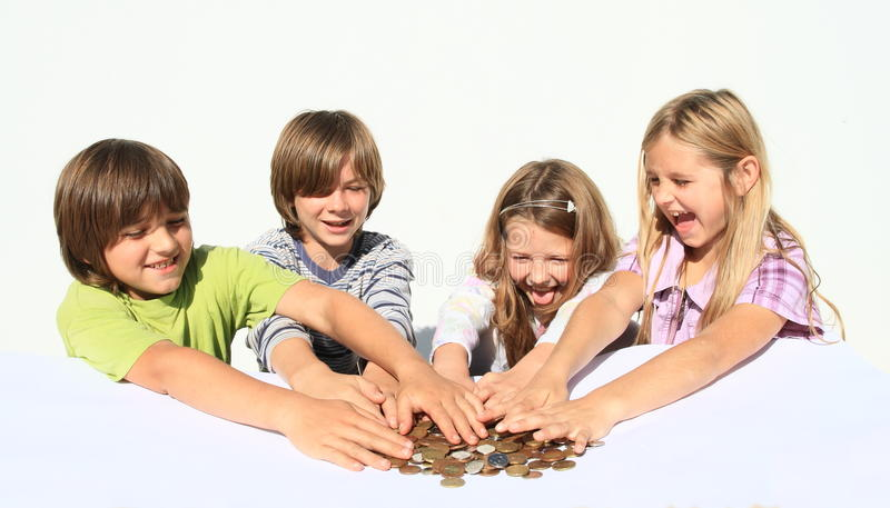 Kids with money stock photography