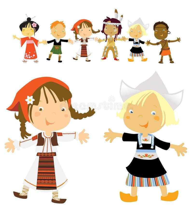 Kids multicultural royalty free illustration
