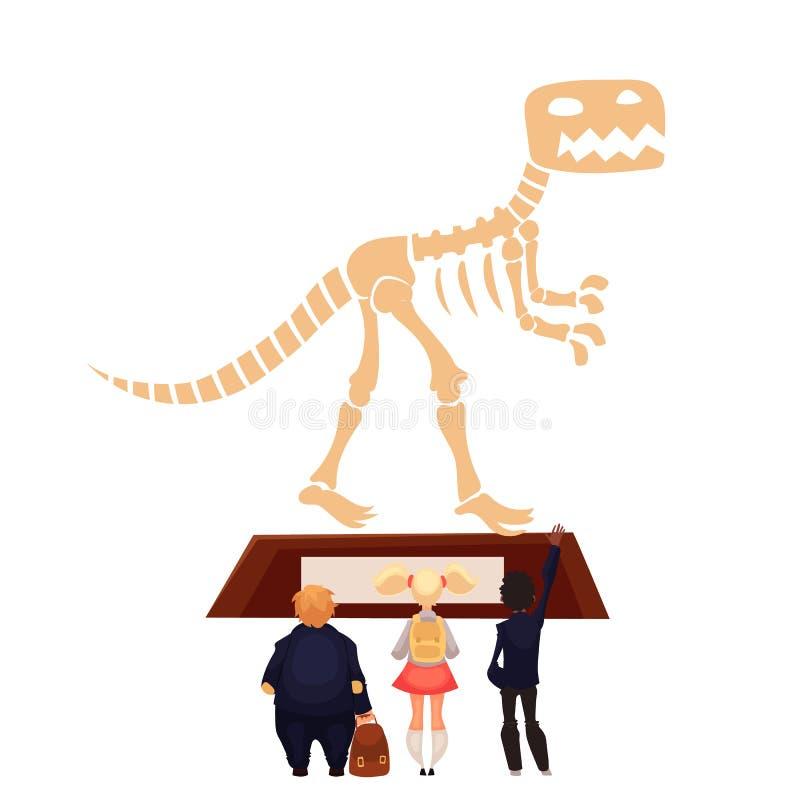 Kids in museum looking at dinosaur skeleton vector illustration