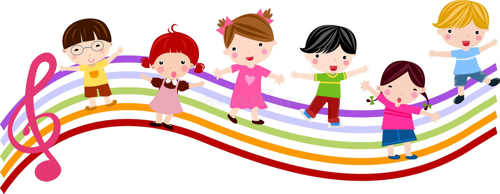 Kids and music vector illustration