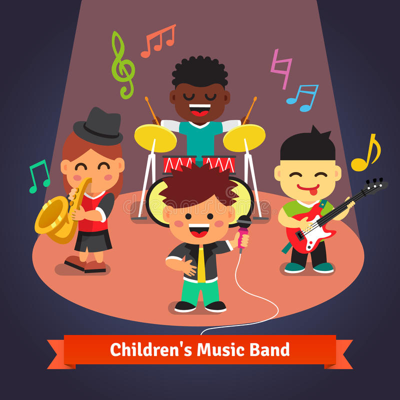 Kids music band playing and singing on stage. Kids music band playing and singing in spotlight light on stage. Soloist, drummer, sax and guitarist characters vector illustration