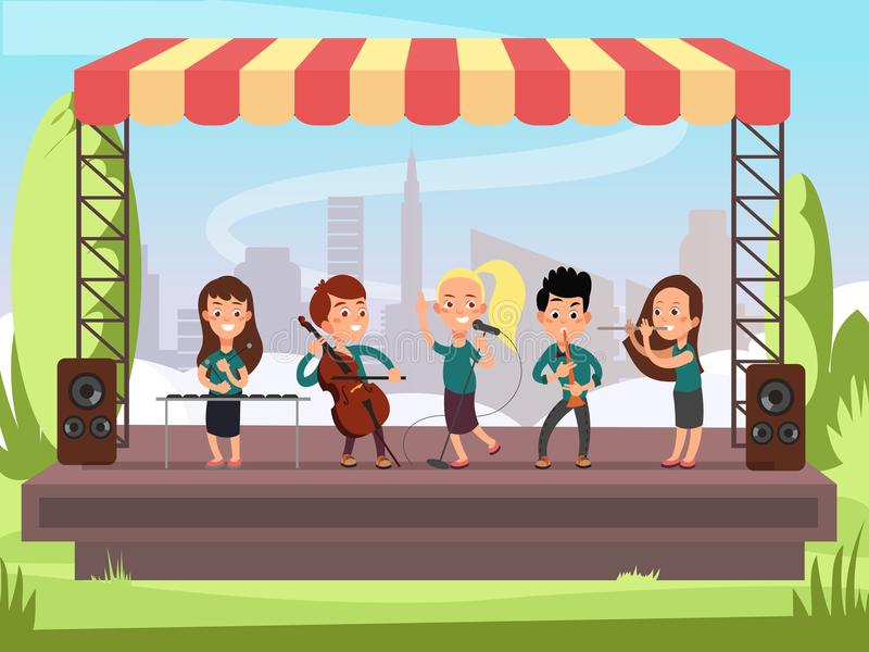 Kids music band playing on stage at outdoor festival vector illustration vector illustration