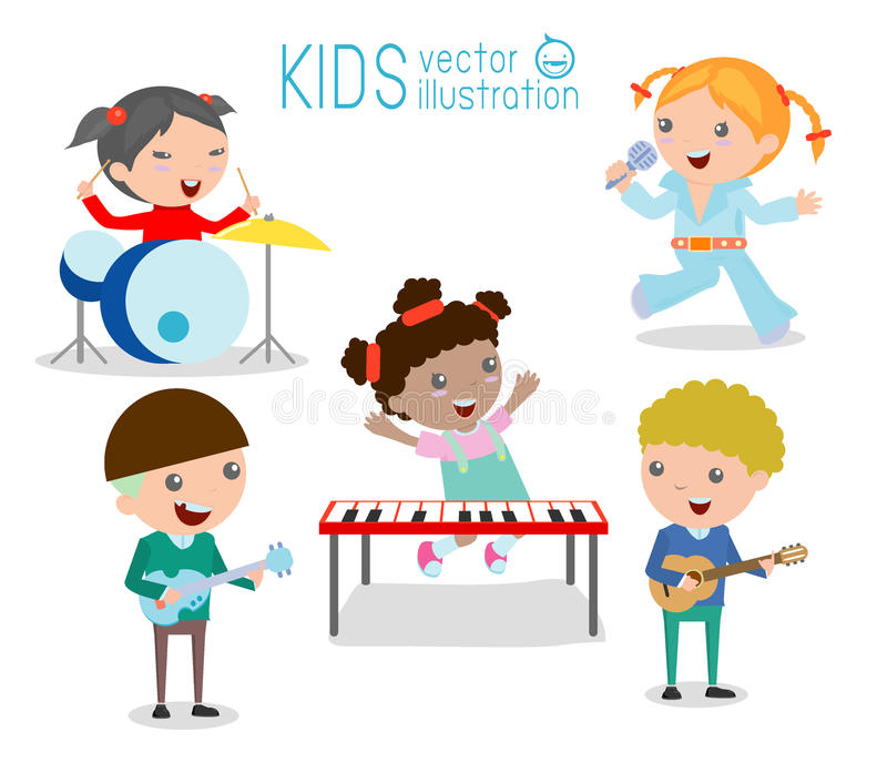 Kids and music, Children playing Musical Instruments,illustration of Kids. Playing different musical instruments,Vector Illustration stock illustration