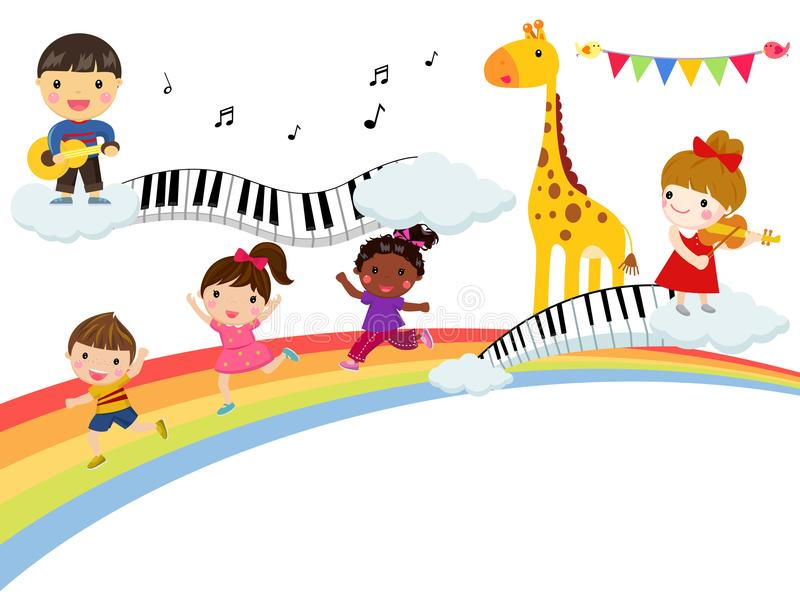Kids and music stock illustration