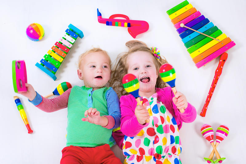 Musical Toys For Toddlers Boys : Kids with music instruments stock image