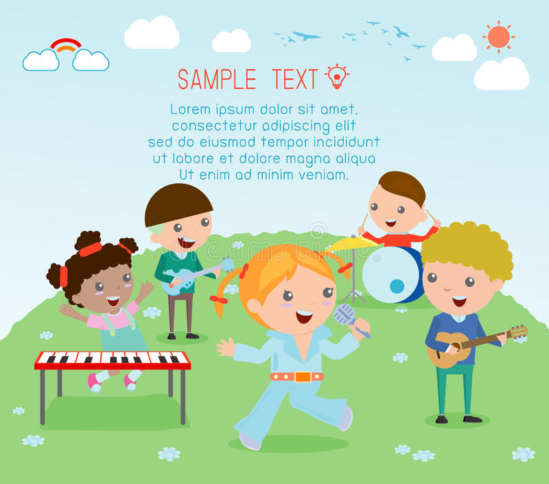 Kids and music, vector illustration of four girl in a music band, Children playing Musical Instruments,illustration of Kids. Playing different musical royalty free illustration