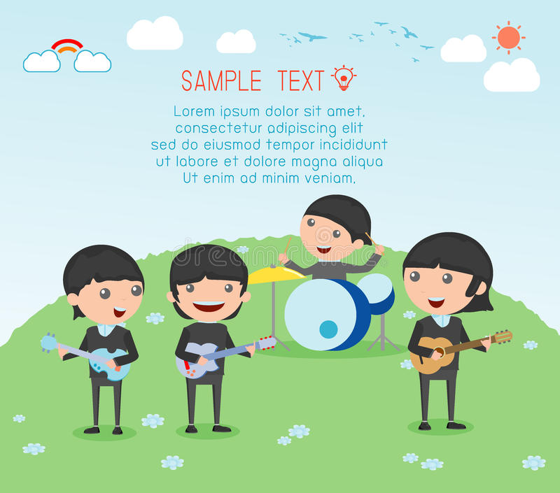 Kids and music, vector illustration of four girl in a music band, Children playing Musical Instruments,illustration of Kids. Vector illustration of four kids in vector illustration