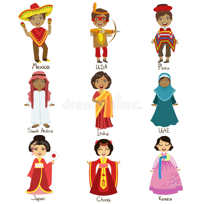 Kids In National Costumes Set. Of Cute Bright Color Childish Design Vector Illustrations On White Background vector illustration