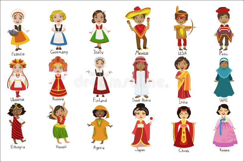 Kids In National Costumes Set. Of Cute Bright Color Childish Design Vector Illustrations Isolated On White Background vector illustration