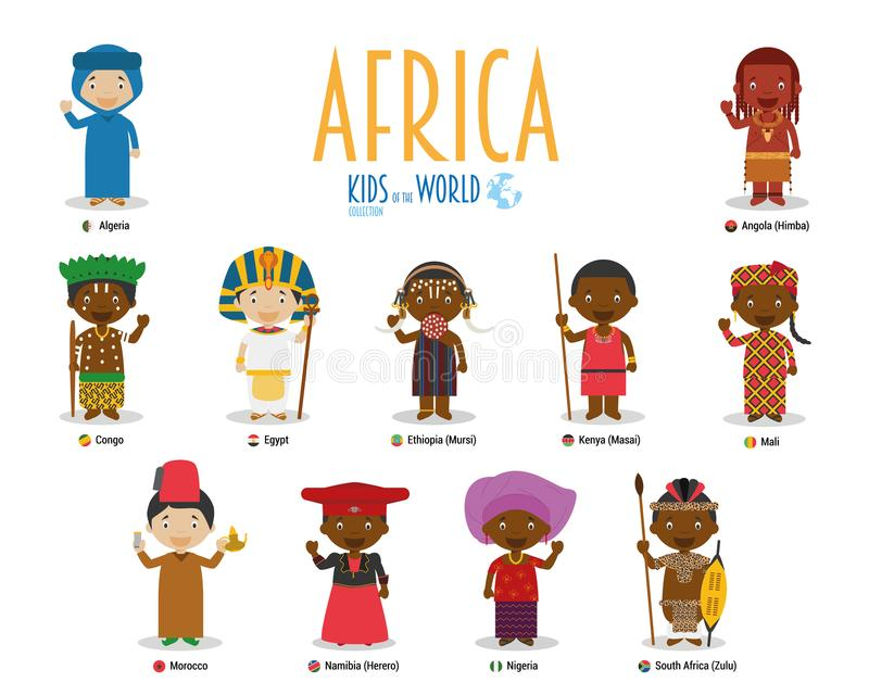 Kids and nationalities of the world vector: Africa. Set of 11 characters dressed in different national costumes vector illustration