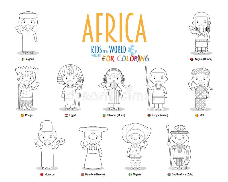 Kids and nationalities of the world vector: Africa. Set of 11 characters for coloring dressed in different national costumes royalty free illustration