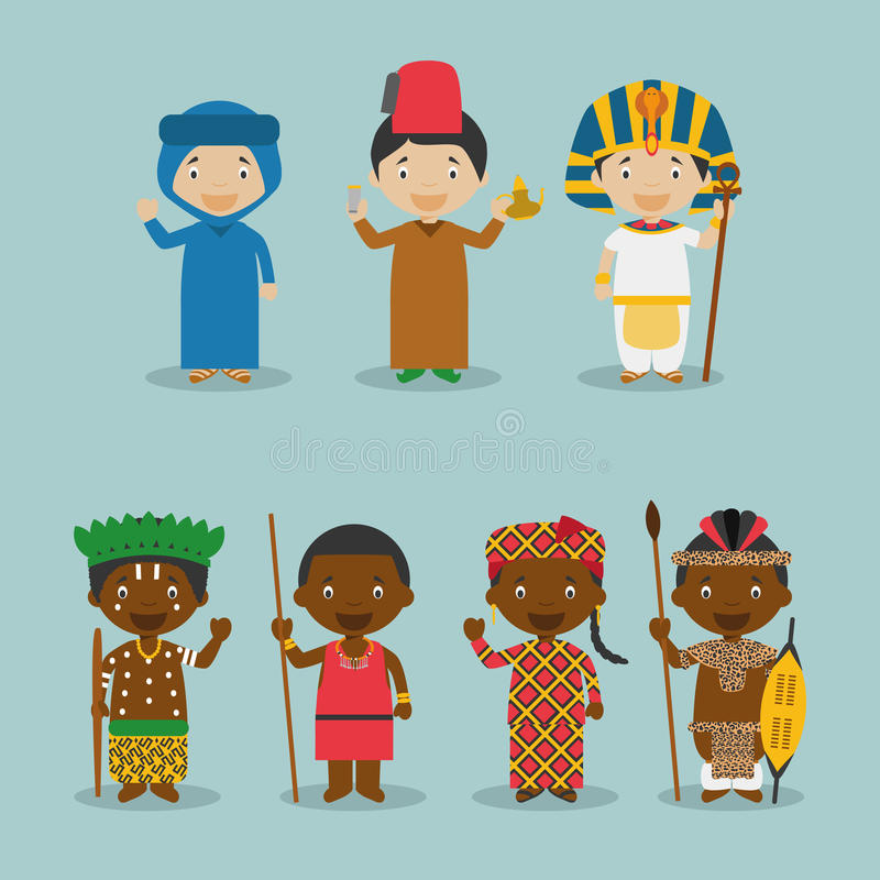 Kids and nationalities of the world vector: Africa Set 2. Set of 7 characters dressed in different national costumes (Morocco, Algeria, Egypt, Congo, Kenya/ vector illustration