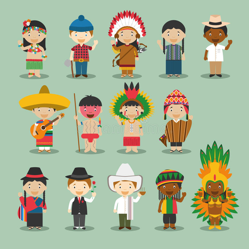Kids and nationalities of the world vector: America Set 4. stock illustration