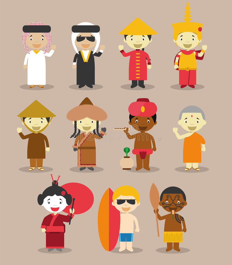 Kids and nationalities of the world vector: Asia and Oceania/Australia Set 3. stock illustration