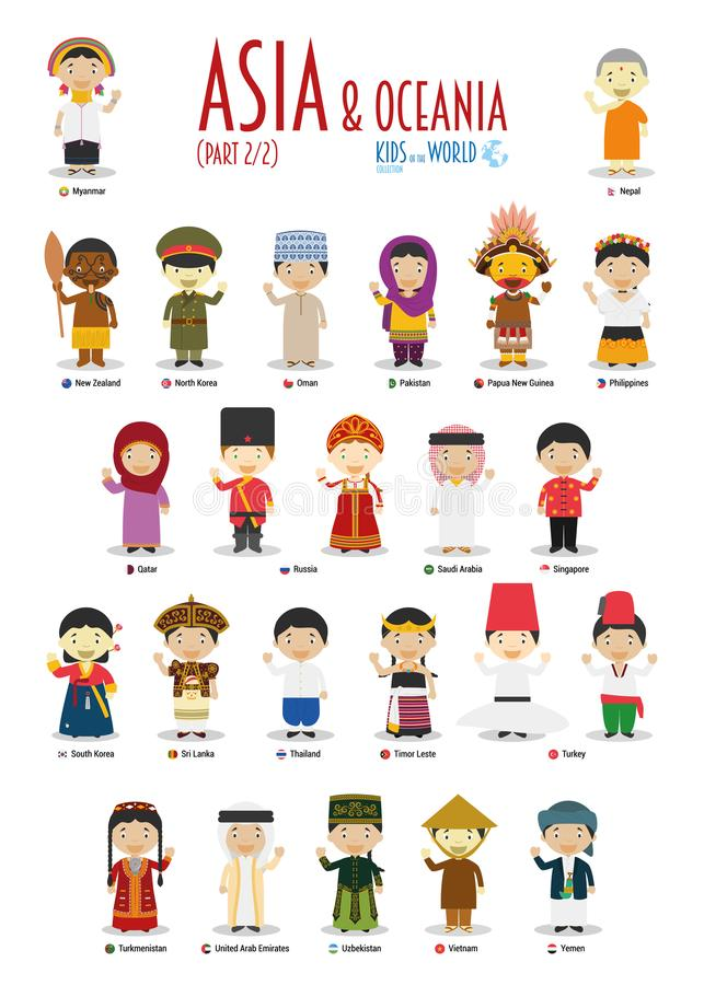 Kids and nationalities of the world vector: Asia and Oceania Set 2 of 2. royalty free illustration