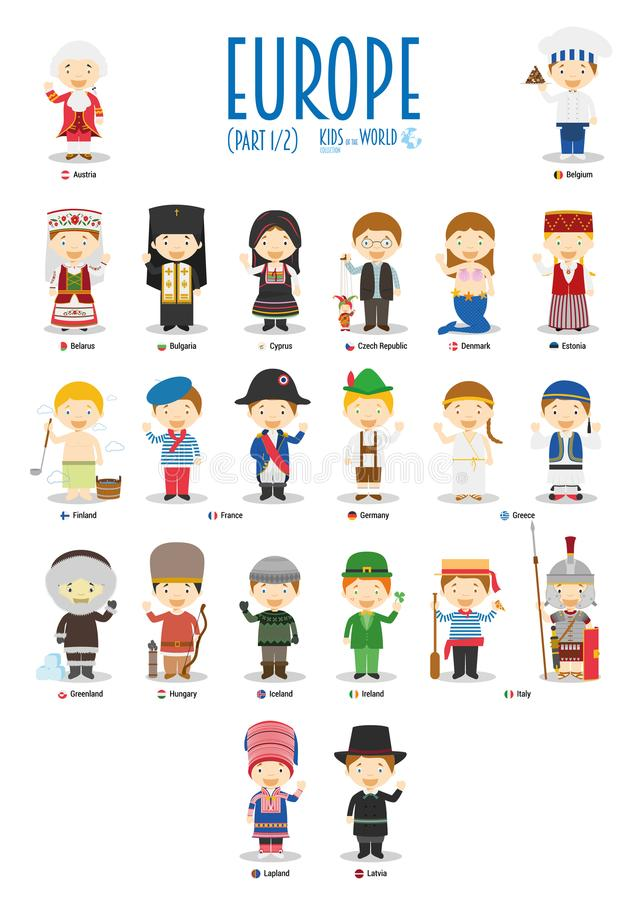 Kids and nationalities of the world vector: Europe Set 1 of 2. stock illustration