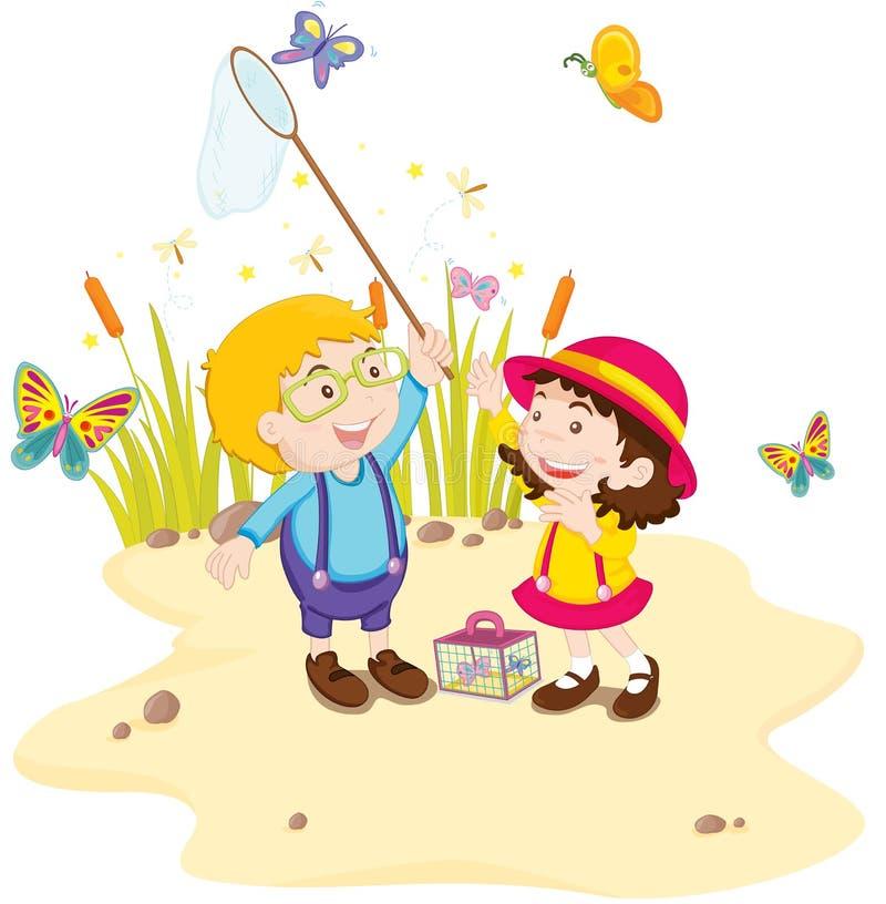 Kids in nature vector illustration