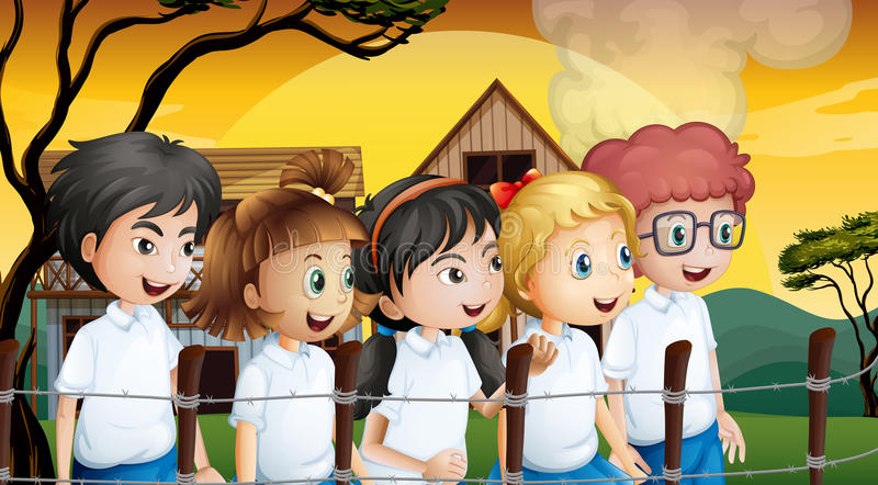 Kids near the barbwire fence. Illustration of the kids near the barbwire fence vector illustration